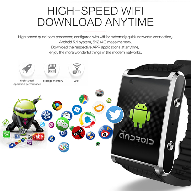 Newest Android 5 1 Smart Watch MTK6580 Smartwatch with pedometer camera 2 0M 3G WIFI GPS