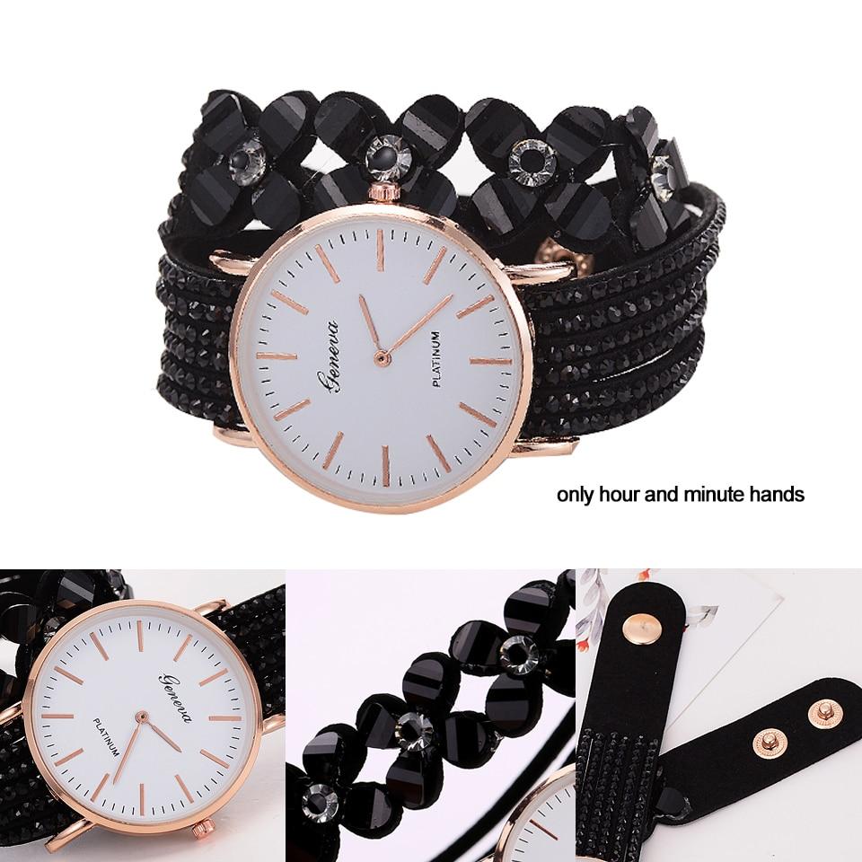 Fashion Geneva Flowers Watches Women Dress Elegant Quartz Bracelet Ladies Watch Crystal Diamond Wrist Watch Gift Reloj Mujer 3