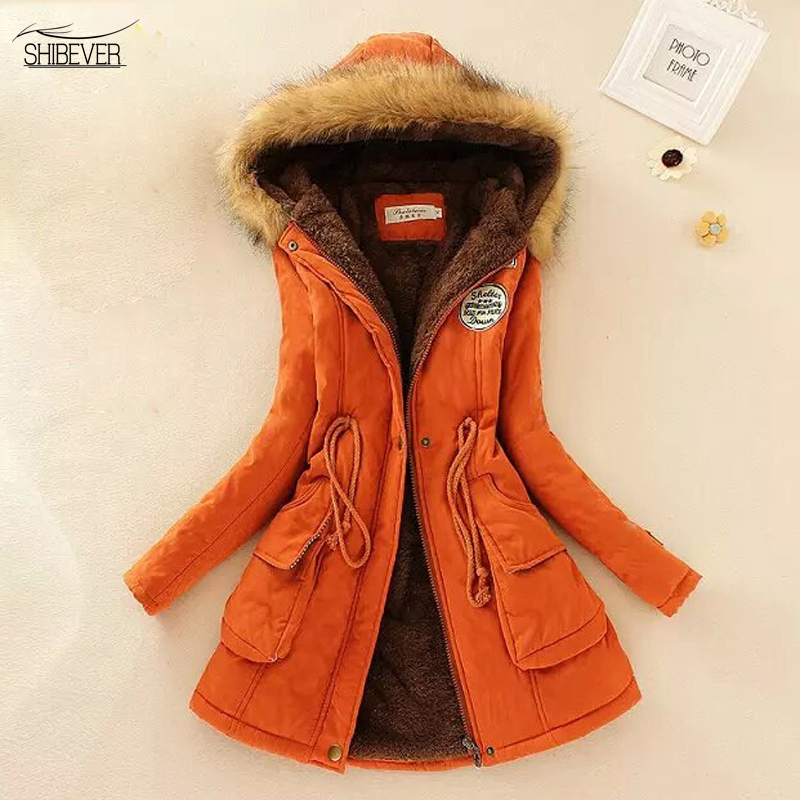 SHIBEVER Solid Women Coats New Fashion Hooded Women Winter Basic Jackets Wild Plus Velvet Parka Long Warm Casual Jacket FTJK142