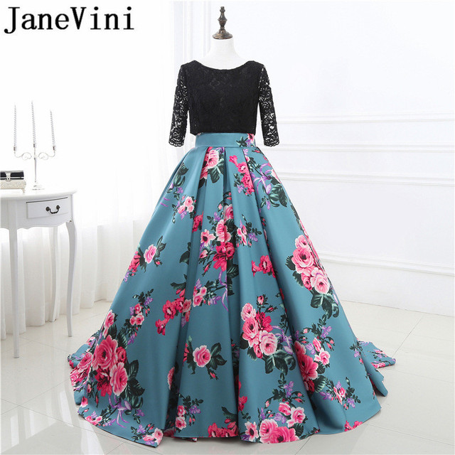 JaneVini 2018 Long Bridesmaid Dresses Satin A-Line Floral Print Lace 1 2  Long Sleeves Backless Sweep Train Wedding Guest Dresses 2b0ac9d5d6a1
