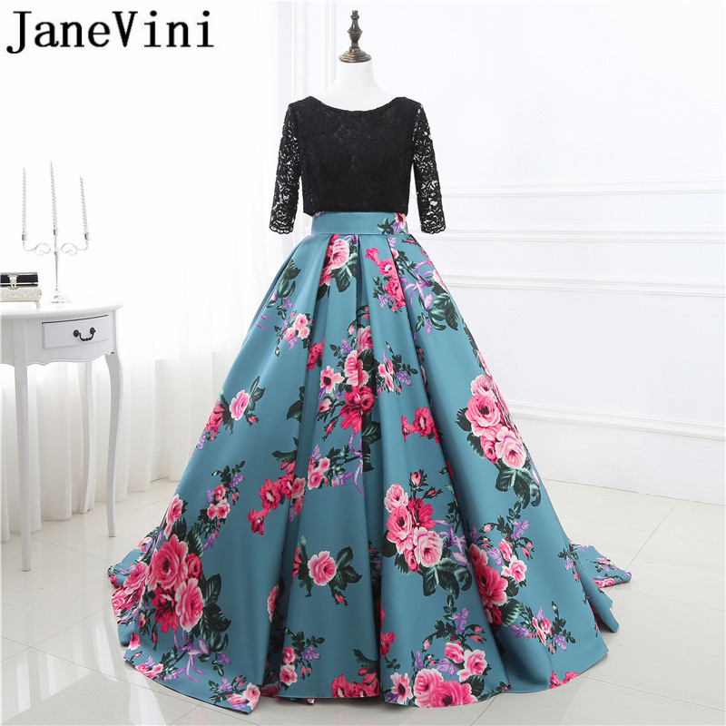 JaneVini 2018 Long   Bridesmaid     Dresses   Satin A-Line Floral Print Lace 1/2 Long Sleeves Backless Sweep Train Wedding Guest   Dresses