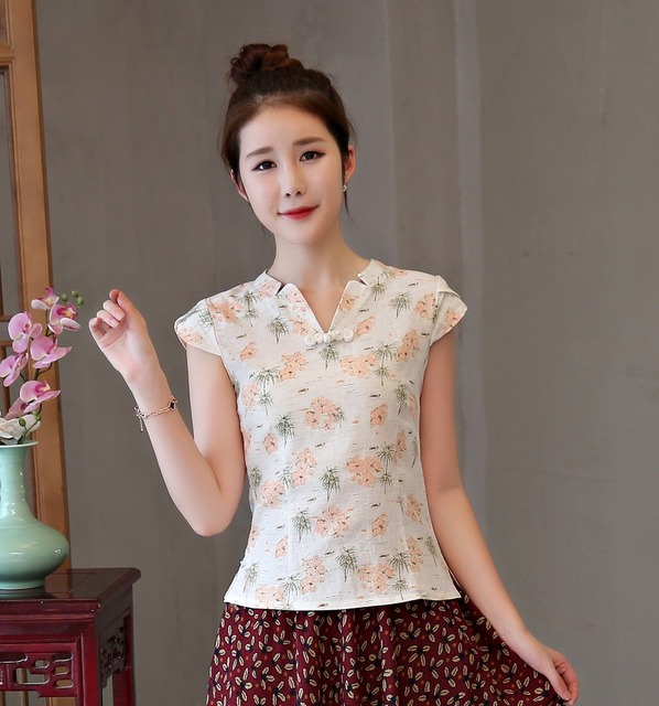 0342a7fef Shanghai Story V Neck national trend Shirt tradition chinese cheongsam top  traditional Chinese women's Top Linen