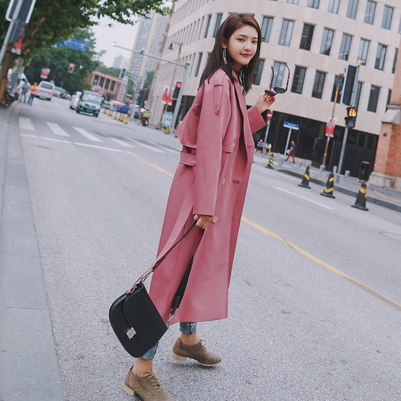 Windbreaker Woman Overknee Long Outerwear 2018 Autumn Overcoat Lace-up Waist Chic Loose Coat Stylish Pink Blue   Trench   Coat