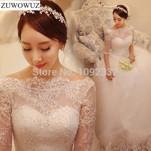 2017 New stock bridal gown plus size women wedding dress backless lace princess half sleeve ball gown princess luxury hot 9928