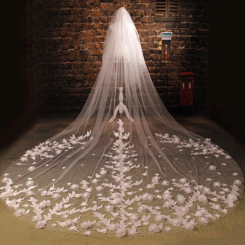 Voile Long pour mariée Voile une couche Applique dentelle fleur voiles de mariée cathédrale accessoires de Mariage Voile Mariage Long