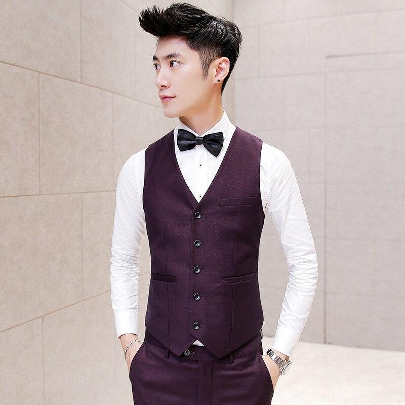Men Suit Vest Wedding Slim FIt Burgundy Sleeveless Jacket Waistcoat Colete Masculino Dress Vests for Men Korean Desinger Vest