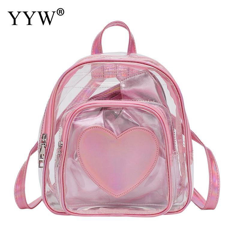 สีชมพูใสโปร่งใสกระเป๋าเป้สะพายหลัง Pvc หัวใจหนังสีขาว Mini Chic กันน้ำกระเป๋าเป้สะพายหลังกระเป๋านักเรียนลำลองกระเป๋า-ใน กระเป๋าเป้ จาก สัมภาระและกระเป๋า บน title=