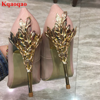 Metal High Heel Gold Leaves Embellished Women Pumps Pointed Toe Shallow Patent Leather Brand Runway Star