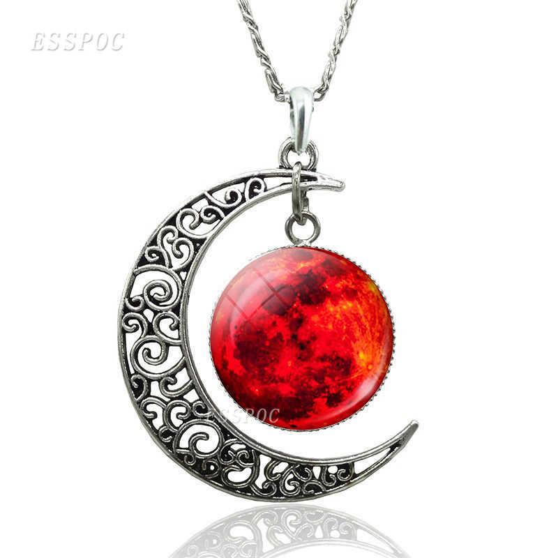 Earth Jupiter ดวงอาทิตย์ดาว Planet Hollow Crescent Moon สร้อยคอแก้ว Cabochon เครื่องประดับ Handmade จี้ DIY อุปกรณ์เสริมของขวัญ