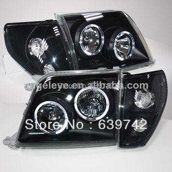 LC90 FJ90 Prado 3400 LED Angel Eyes Head Light for TOYOTA 1998-2003 year Black House