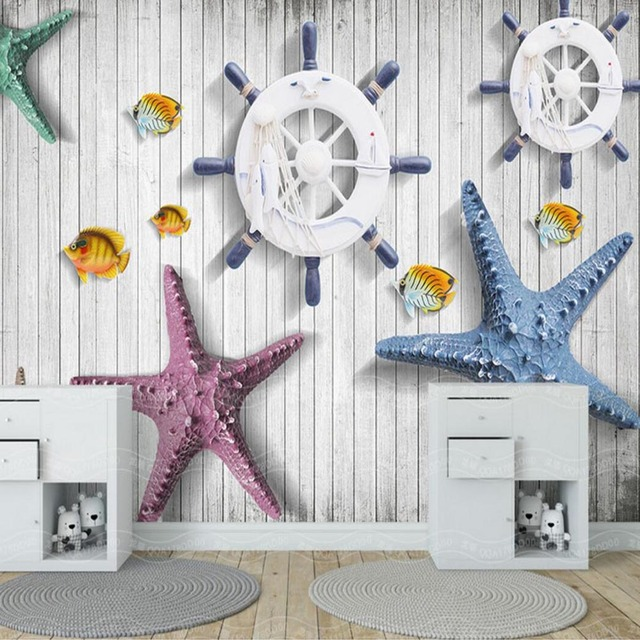 3D Mural the Mediterranean Style Starfish Photo Wallpaper Murals for ...