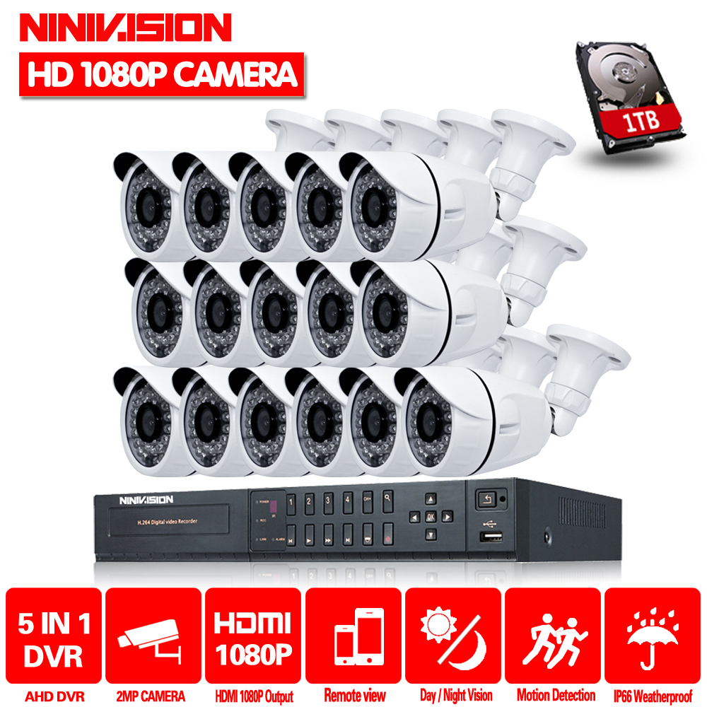 NINIVISION 16CH CCTV Sistema di 2MP 1080 p HDMI DVR 16 pz Outdoor Home Video Sistema di Telecamere di Sicurezza di Sorveglianza Con 2 tb HDD
