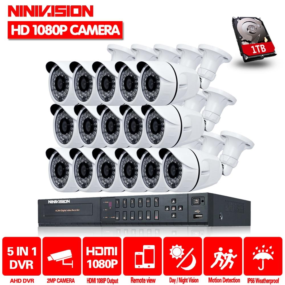 NINIVISION 16CH CCTV System 2MP 1080P HDMI DVR 16PCS Outdoor Home Video Security Cameras Surveillance System With 2TB HDDNINIVISION 16CH CCTV System 2MP 1080P HDMI DVR 16PCS Outdoor Home Video Security Cameras Surveillance System With 2TB HDD