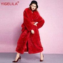 YIGELILA 9353 Winter Women Fashion Dark Red Finland Cross Fox Thick Warm Long Fur Coat Plus Size