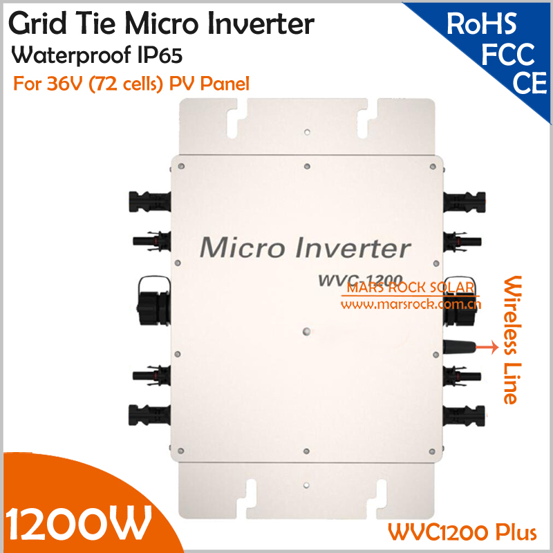цена на 22-50V DC to AC110V or 220V Waterproof 1200W Grid Tie MPPT Micro Inverter with Wireless Communication function for 36V PV System