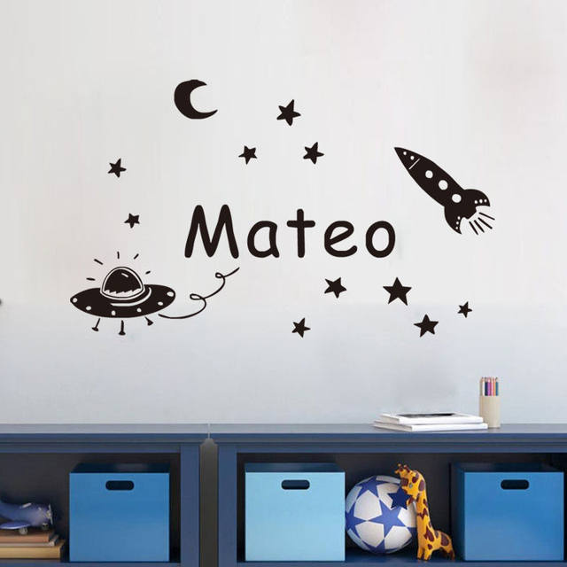 Online shop space planet wall sticker personalized name kids wall space planet wall sticker personalized name kids wall decal vinyl decorative baby wall decals custom gift for birthday jw168 negle Images