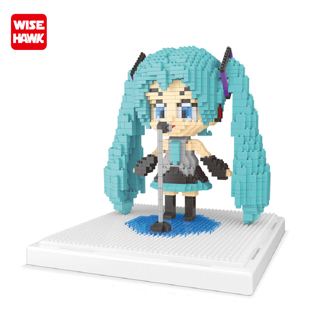 WISEHAWK New Arrival Building Blocks Big Size Hatsune Miku Mini Bricks DIY Assembly Model NanoBlock Gifts Toys For Kids 1681 PCS 12 style one piece diamond building blocks going merry thousand sunny nine snakes submarine model toys diy mini bricks gifts