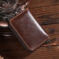 Mens Genuine Leather Card Holder Wallets Small Great Quality Male Pillow Purse Fashion Organ Vintage Zipper Credit Card Bag