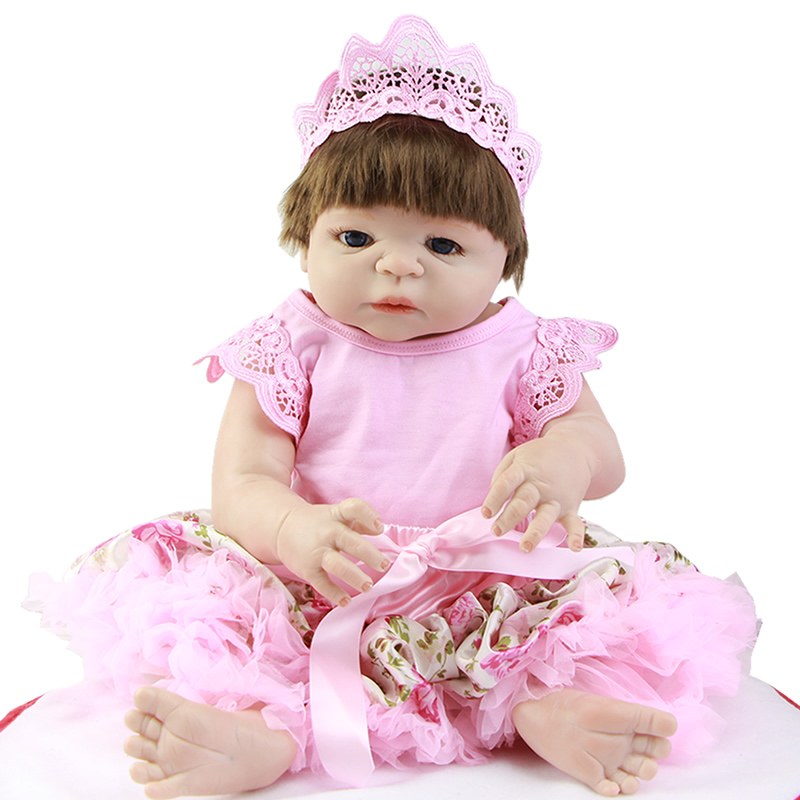 Hot Sale 23 IN Reborn Baby Dolls with Mohair or Synthetic Hair Dressed Pink Skirt Lifelike Full Silicone Dolls Xmas Girl Gifts платья dressed in green платье