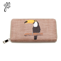 Leather Wallet Women Fashion Casual Style Bird Pattern Ladies Purses Long Zipper With Card Holder Big