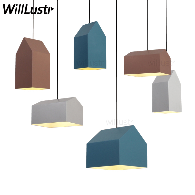 Nordic House Metal Pendant Lamp North Europe Modern Design Home Dinning Room Light Suspension Lights Pink Blue White Minimalist