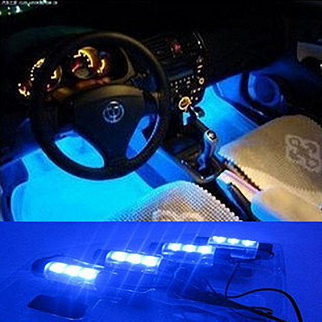 4*3 LED 12V Car Auto Interior Atmosphere Lights Decoration Lamp Blue Soles Ambient Light Car LED mood light foot lights styling