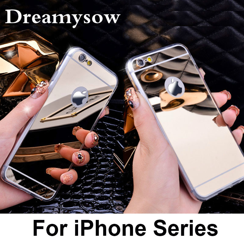 Dreamysow New Fashion Soft TPU Mirror Case Back Cover Case For iphone X 7 8 Plus Back Cover For iPhone 6 6S Plus SE 5S 5 4S 4