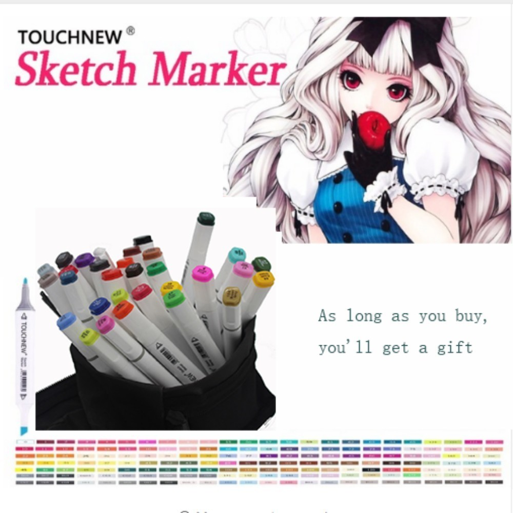 TOUCHNEW six generations double mark pen alcohol marker oily hand-painted suit students 30 48 72 color fine art markers manga manga design 24 color three generations oily alcoholic paint mark pen permanent marker sketch double headed copic markers