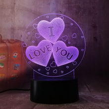New 2019 Girl LOVE Balloons Heart Shape 3D LED Night Light Romantic Desk Table Lamp HOT Wedding Decoration Lovers Couple Gift(China)