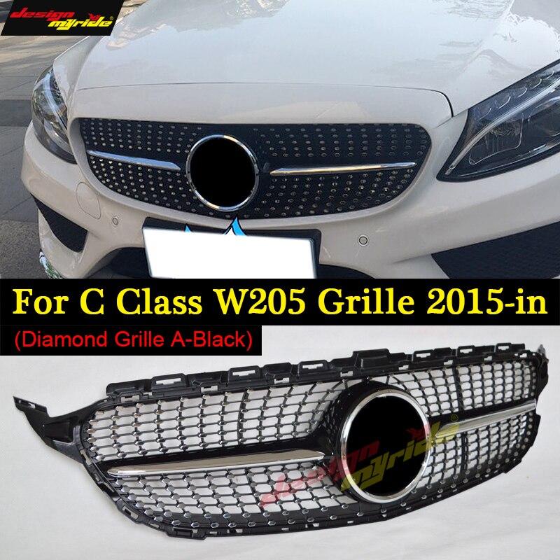 W205 Diamond Grille Without emblem ABS Black For C Class W205 c180 c200 c250 c300 c350