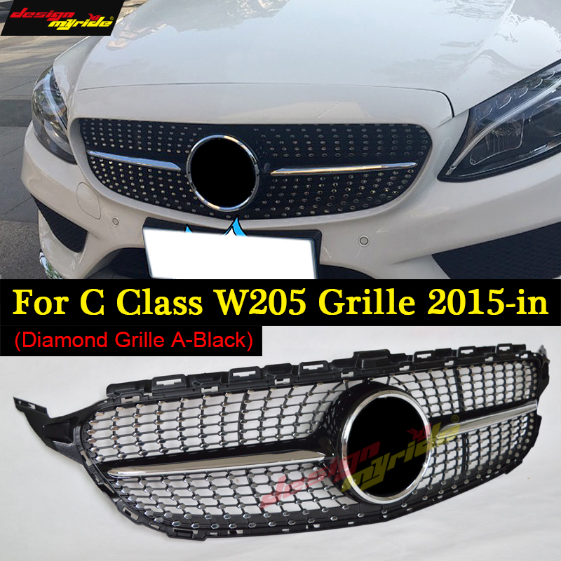 New C Class W205 Diamond Grille ABS Black Material For Mercedes C350 250 180 C200 c300 C400 C63 AMG Sporty 2015-2018 Front Grill carbon fiber car rear spoiler boot lip wing for mercedes w204 benz c class c200 c250 c300 c350 c63 amg sedan 4 door 2008 2013