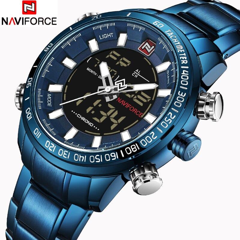 NAVIFORCE Mens De Luxe Quartz Analogique Montre De Mode Sport Numérique LED Montre Étanche Mâle Montres Horloge Homme Relogio Masculino