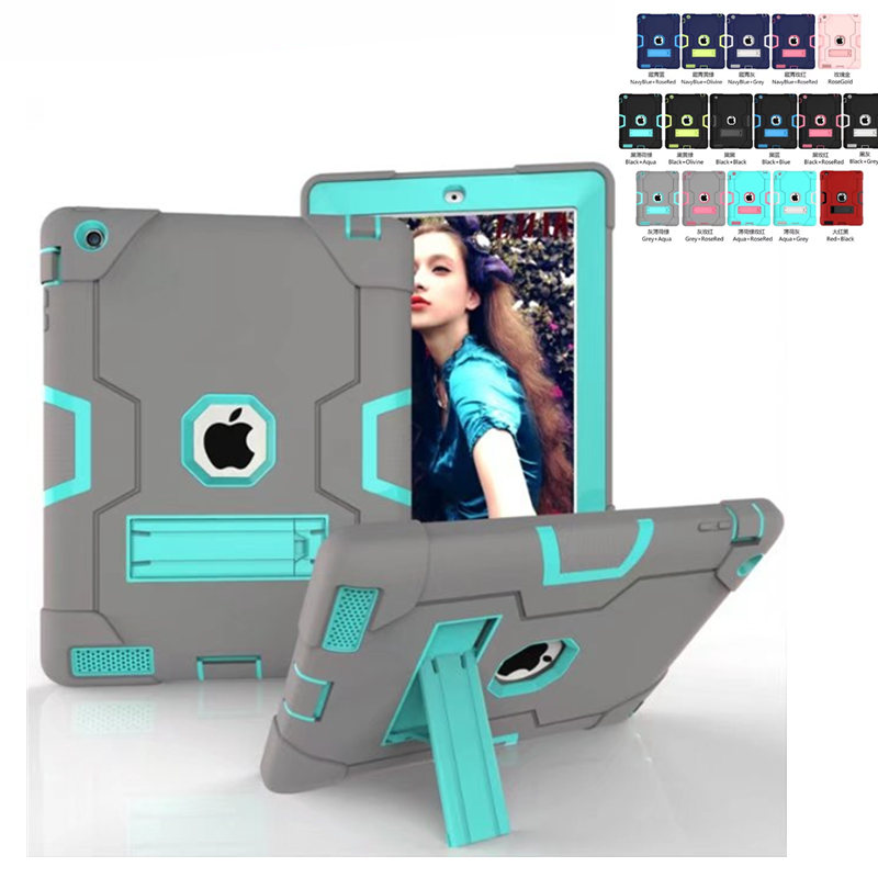 Cute Shockproof Case for Apple iPad 2 3 4  9.7 inch Kids Safe Silicone Hard PC Stand Armor Cover for iPad 4 3 2 Tablet