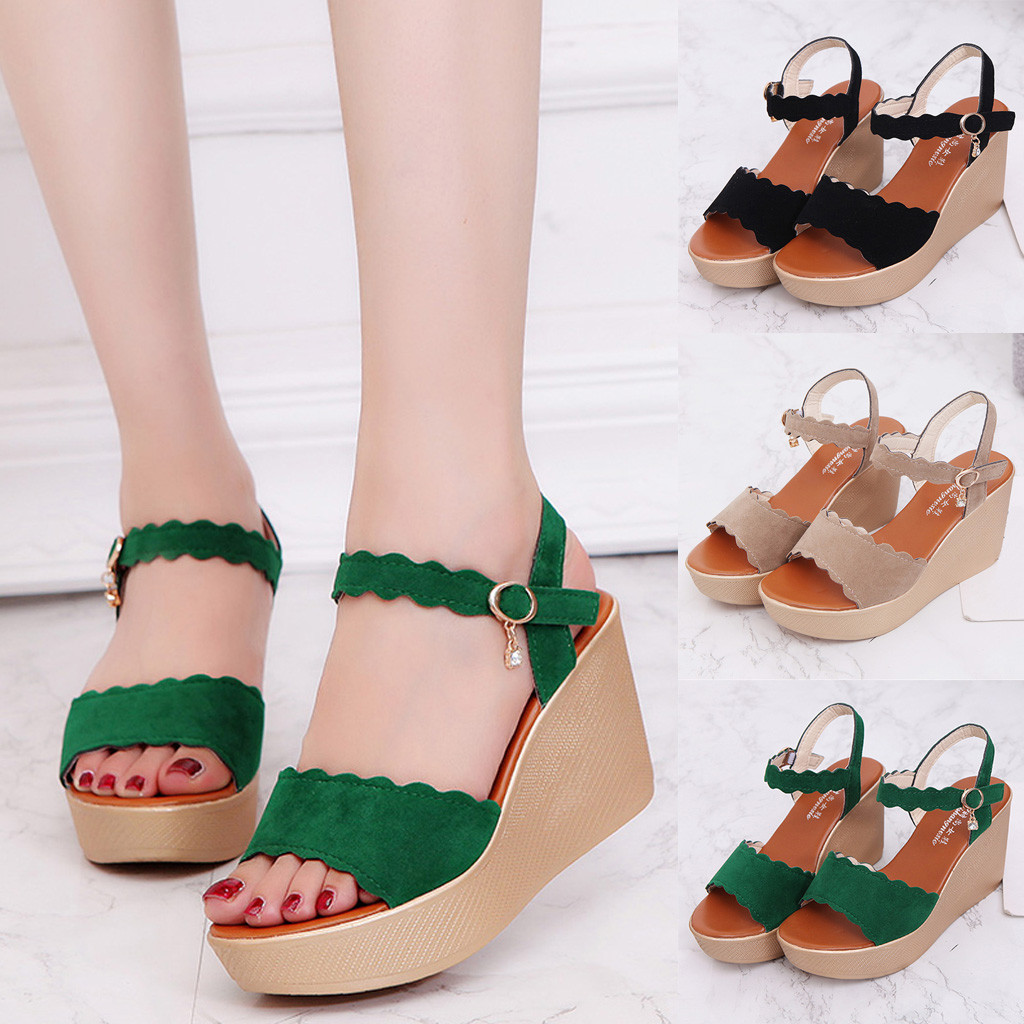 Newest Women Wedges Sandals Peep Toe Beach Rome Buckle Strap Casual Shoes Fashion Solid Woman