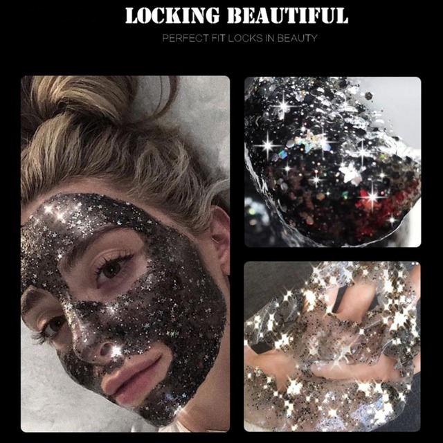 STAR MASK Glitter Gold Peel off Black Face Mask From Black Dots Blackhead Remover Korean Facial Masks Face Skin Care 3