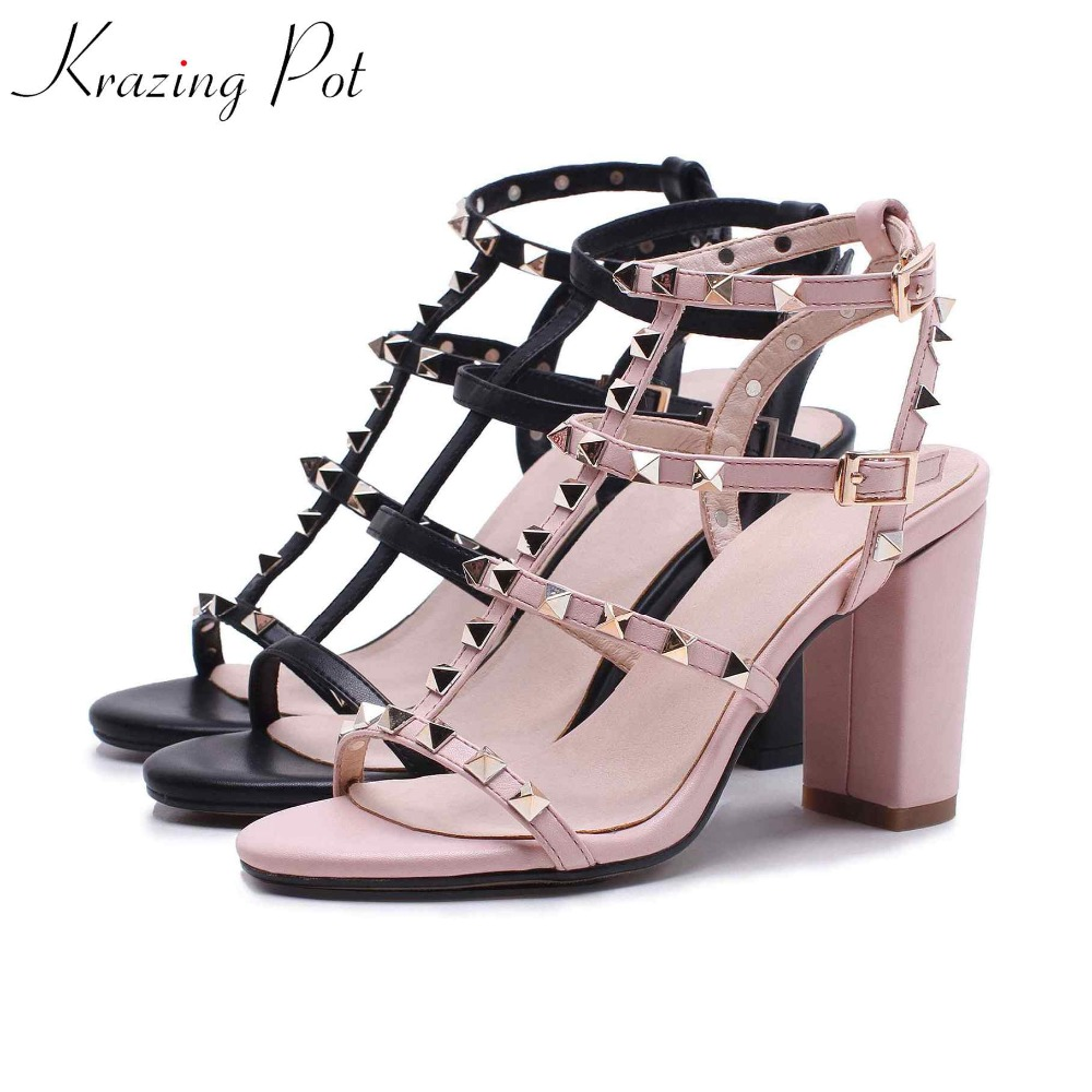 Krazing Pot 2018 cow leather fashion summer European style buckle peep toe super high heels rivets decoration women sandals L32