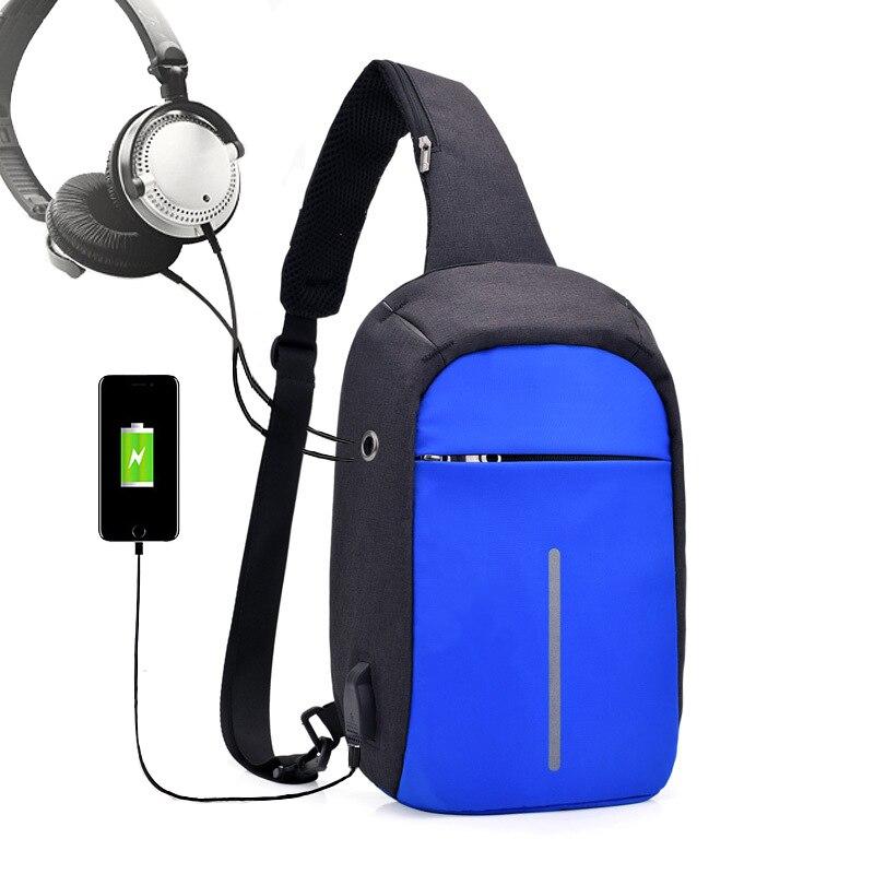 Anti-Theft Chest bag Man With USB Fashion Cross body bag Man Shoulder Bags Men Male Nylon Hidden Chest Pack Mens Retro Cool Bag