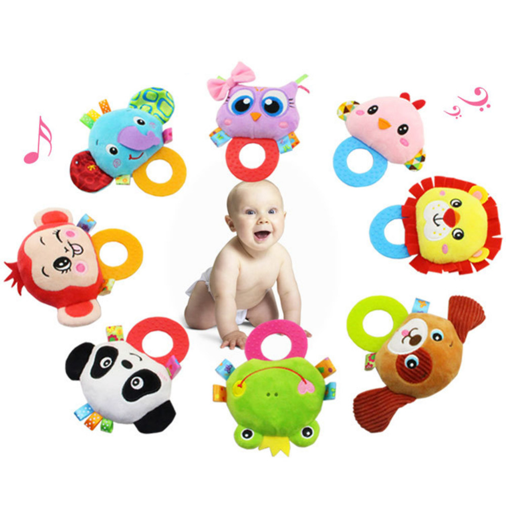 Cartoon Plush Animal Style Baby Rattles Toy With Silicone Teether Infant Wind Ringing Hanging Stroller Toy Baby Hand Shake Bell