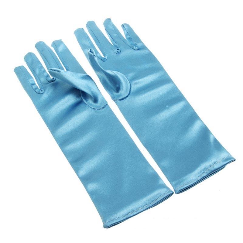 24cm Blue Girls Children Satin Short Gloves Dress Glove Dance Drama Performance Props Party Supplies Christmas Navidad