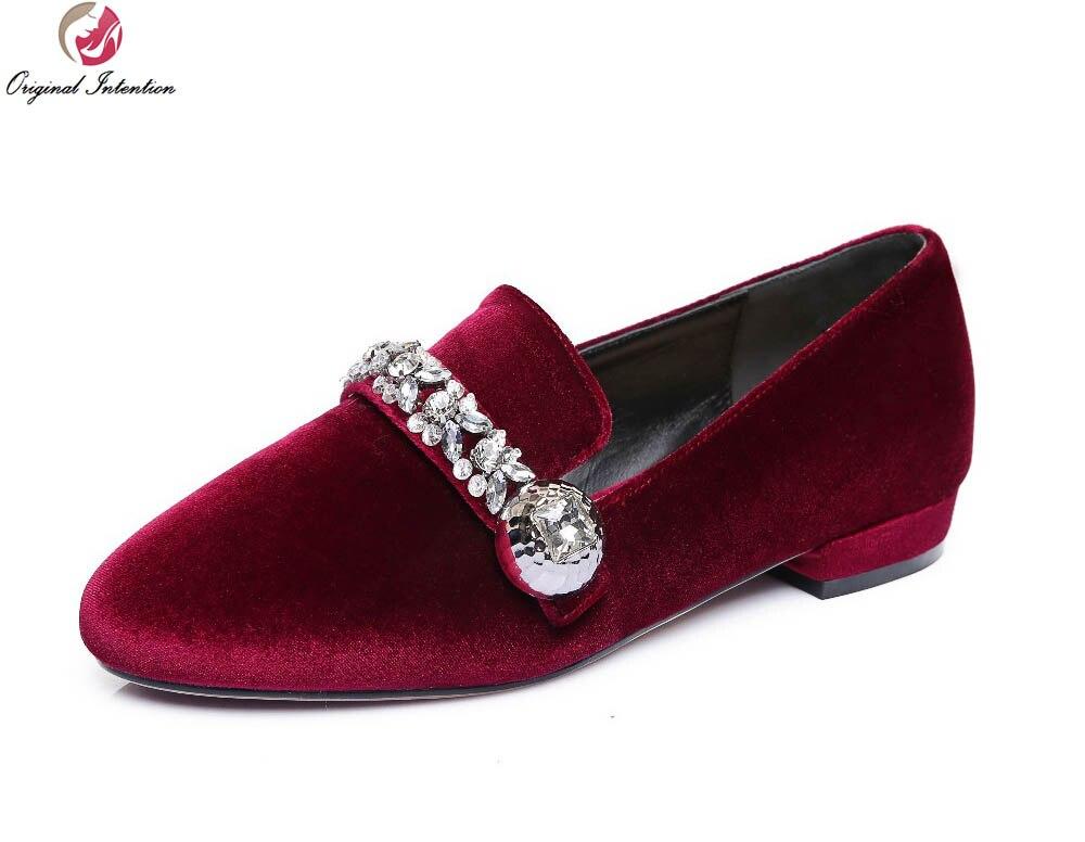 8155e1fcb4f1 Original Intention Super Fashion Women Casual Shoes Beautiful Rinestone  Round Toe Black Blue Wine Red Shoes Woman Size 3.5-10.5