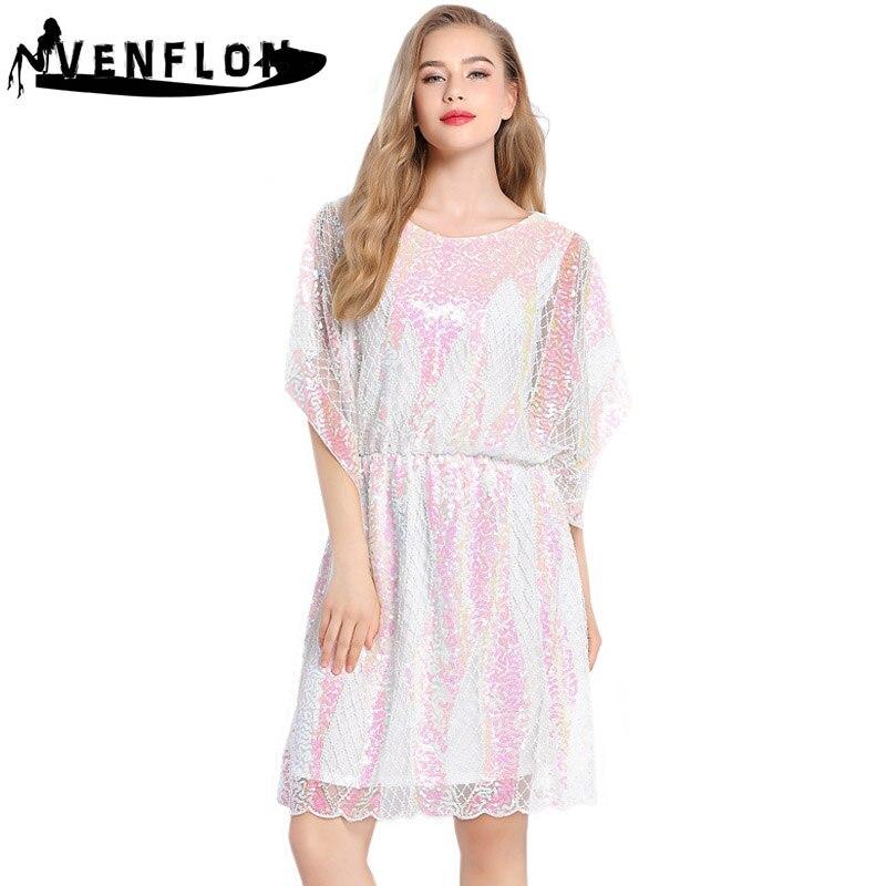 8c178ef3dda VENFLON повседневное свободное летнее платье для женщин 2019 элегантные  женские Роскошные блесток бусины женское сексуальное тонкий