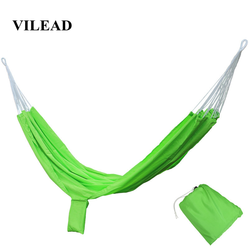 VILEAD Stable 200*140 Hammock Ultralight Canvas Camping Hammock Bed Wood Stick Outdoor Garden Swing Hanging Chair Hiking Gear-in Camping Cots from Sports & Entertainment