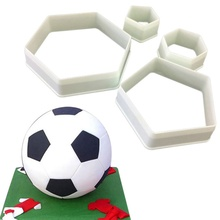 4Pcs Football Cookie Cutter Hexagon Cutters Plastic Mold Chocolate DIY Cake Fondant Decorating Tools Kitchen Tool