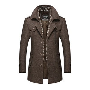 Image 3 - Bolubao masculino casaco de lã de inverno moda masculina gola virada para baixo quente mistura de lã grossa casaco de ervilha masculino trench coat