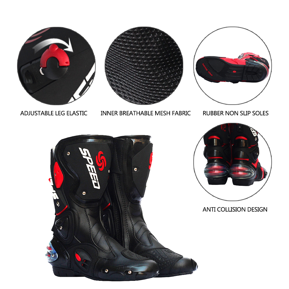 PRO-BIKER SPEED BIKERS Motorcycle Boots Moto Racing Motocross Off-Road Motorbike Shoes Black/White Size 40/41/42/43/44 pro biker travel riding boots motocross motorcycle boots motorbike off road botas moto motorcycle equipmen black size 40 45