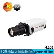 лучшая цена 4K Network Camera Hi3516A + SonyIMX226 Sensor 12mp Super Network Alarm PoE H.265 and H.264 Security Camera Optional Lens
