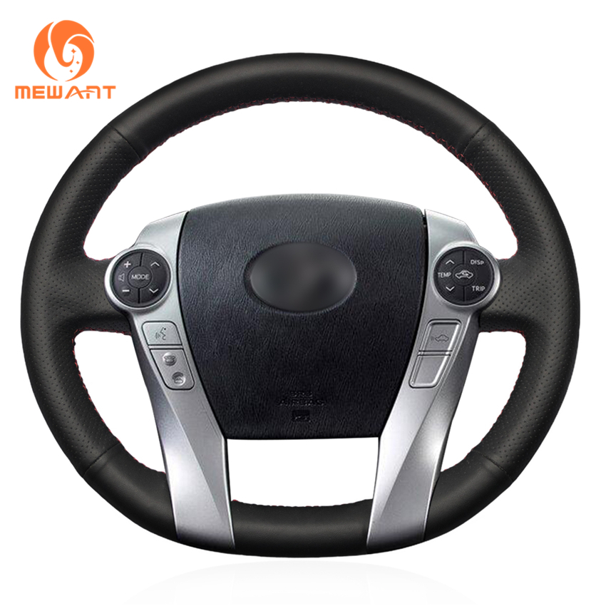 MEWANT Black Genuine Leather Car Steering Wheel Cover for Toyota Prius 2009-2015 Aqua 2014 2015 special car trunk mats for toyota all models corolla camry rav4 auris prius yalis avensis 2014 accessories car styling auto