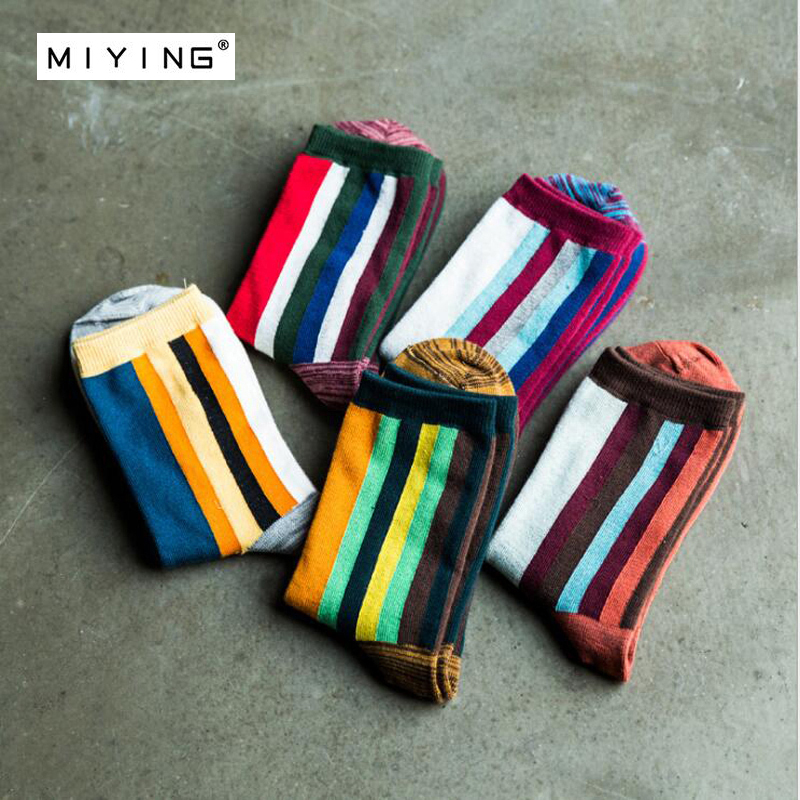 MIYING 5 Pairs Elegant Stripe Cotton Classic Business Colorful Dress Sock For Man Style Fashion Boy Socks Mens Casual Outdoors