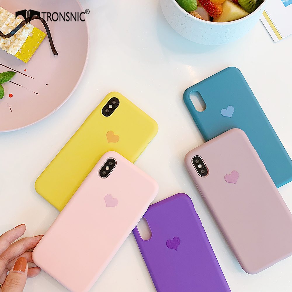 Texture Love Heart <font><b>Phone</b></font> <font><b>Case</b></font> for <font><b>iPhone</b></font> 11 Promax XR XS MAX Luxury Matte Pink <font><b>Yellow</b></font> <font><b>Case</b></font> for <font><b>iPhone</b></font> <font><b>6S</b></font> 7 8 Plus Silicone Cover image