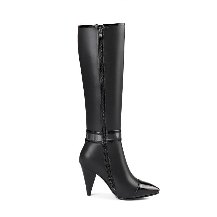 Talons Haute Aiguilles Us 313 Femmes Femme De Bottes Chaussures Bout Genou L'intention Noir Cuir Initiale Élégant Ef1501 Taille Black Pointu Mode En hBsQdxrtC